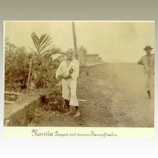 """""""Tagal Man with his Fighting Cock"""". Fine Photo from Manila"""