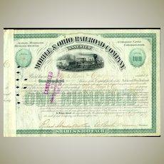 1879: The Mobile and Ohio Railroad Company. Certificate with fine Locomotive