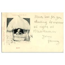 "1899: ""Heilo"", b/w postcard depicting a little black Boy in his hut"