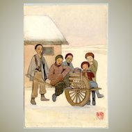 Old watercolor with Chinese motif: Wheel Borrow