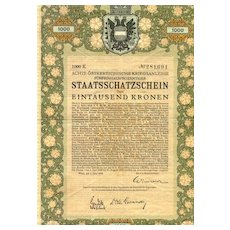 1918.  Austrian Art Nouveau: Treasury Bond. 10,000 Crowns