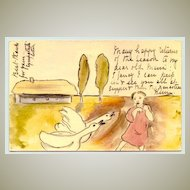 1922: Hand painted postcard of Girl and Geese