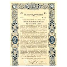 1908: First Austrian Insurance for officials: 200 Kronen Bond