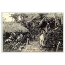 1906: Vintage Postcard Ceylon, Village huts. Sent to Germany