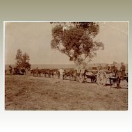 Vintage Photo of People travelling on Cart pulled by Bulls