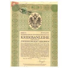 WWI:  Second Austrian War Bond: Hungarian Bisect attached