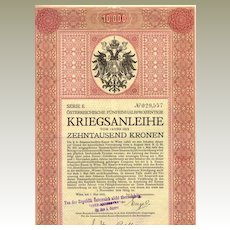 WWI:  Second Austrian War Bond: 10.000 Kronen certificate