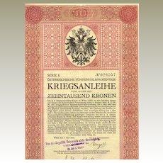 WWI:  Second Austrian War Bond: 10.000 Kronen certificate
