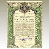 1915: Austrian 10,000 Crowns War Bond designed by Berthold Loeffler