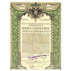1915: Austrian 10,000 Crowns War Bond designed by Berthold Loeffler