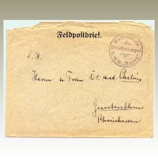 German WWI Field – Post with scarce Ship Post cancellation