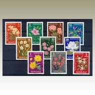 Macao Stamps 1953: MNH Flower Stamp Set