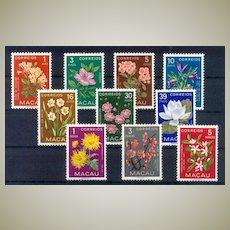 Macao Stamps 1953: MNH Flower Stamp Set