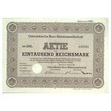 1941: W.W.II: Ostmarkische Brau AG. Reichsmark Share