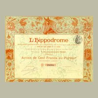 1898. France, Paris: L' Hippodrome. Antique Stock Certificate