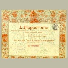 1898. France, Paris: L' Hippodrome. Antique Stock Certificate