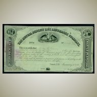 1867: The Mutual Benefit Life Insurance Company – Policy Certificate