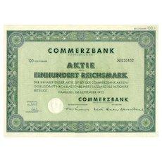 1952: German Commerz Bank Share. 100 Reichsmark