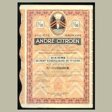 1924: Andre Citroen. Decorative Share