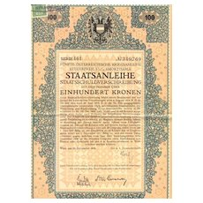 Austrian Art Deco: 5th War Bond 100 Kronen. Decorative certificate