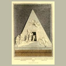 19th Century: Fine Steel Print: Grave of Arch Duchesse Christina.