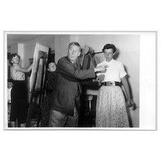 Unique b/w Photo of the painter Oskar Kokoschka with Students