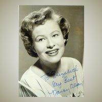 Nancy Olson on b/w Photo. Authentic Nancy Olson Autograph with COA