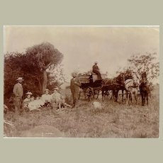Old Photo: Picnic Scene and Slave with carriage