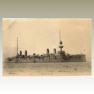 US Vessel MONTCALM: b/w postcard printed in Japan