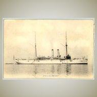 US Vessel Galveston: b/w postcard printed in Japan