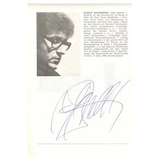Pianist Rudolf Buchbinder. Authentic Autograph with CoA