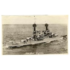 Ca. 1920: Photo of the US War Ship West Virginia