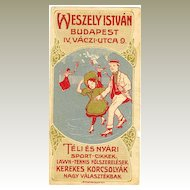 ca. 1920: Lithographed Label of Hungarian Sports supplier