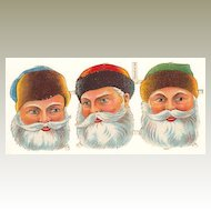 Ca. 1910s: German Die Cut with 3 Santa Heads