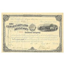 1896: The Cedar Falls and Minnesota Railroad Company: 50 Shares