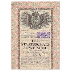 1914: Most decorative Austrian States Bond. Art Deco.