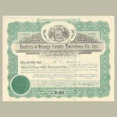 1913: Eastern Orange County Mausoleum Co. Inc.. Old Share