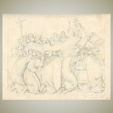 19 th Century: Julius Thaeter Etching after a Sandro Bottichelli Painting.