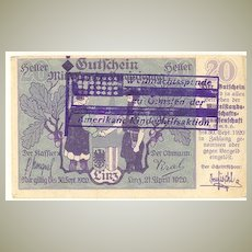 Austria 20 Heller Bill with American Aid Overprint from 1920