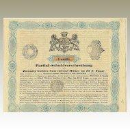 1847, Austria – Hungary: Depenture Bond Earl Esterhazy