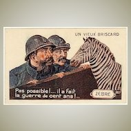 French Postcard: Zebra and 2 Fire fighters
