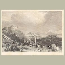 19th Century Etching of old Macao / Macau.