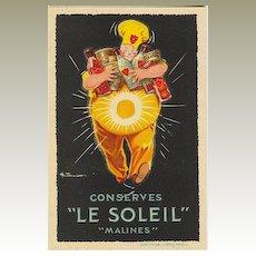 Conserves Le Soleil: Decorative Advertising Postcard.