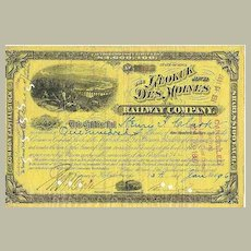 The Keokuk and Des Moines Railroad Company: Obsolete Stock from 1896. 100 Shares