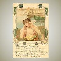 1920: Decorative Art Nouveau Postcard: Lady calling.