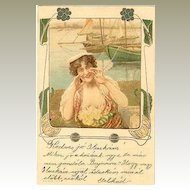 1920: Decorative Art Nouveau Postcard: Lady calling.