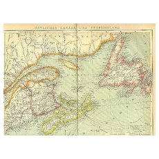 Map of Eastern Canada and New Foundland 12 x 10 inches 1907: