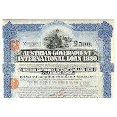 1930: Austrian Government International Loan 1930, scarce 500 Pounds
