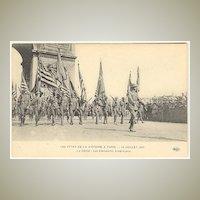 American Infantry parading in France Paris. World War 1 Postcard