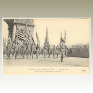 American Infantry parading in France Paris. World War 1 Postcard